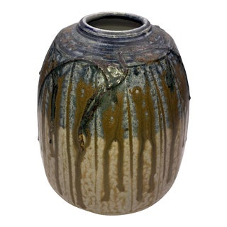 Modernist Drip Glaze Signed Studio Pottery Barrel Vase For Sale
