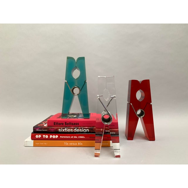 Oversized Teal Lucite Clothespin Paperweight or Paper Holder For Sale - Image 11 of 13