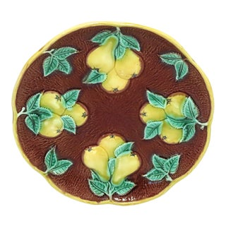 Victorian Majolica Serving Dish With Pears Circa 1880s For Sale