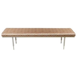 Reupholstered Mid-Century Spun Brushed Aluminum Bench For Sale