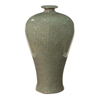 Sarried Ltd Celadon With Brown Lip Prunus Vase For Sale