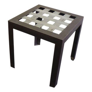 Stainless Steel Grid Side Table For Sale