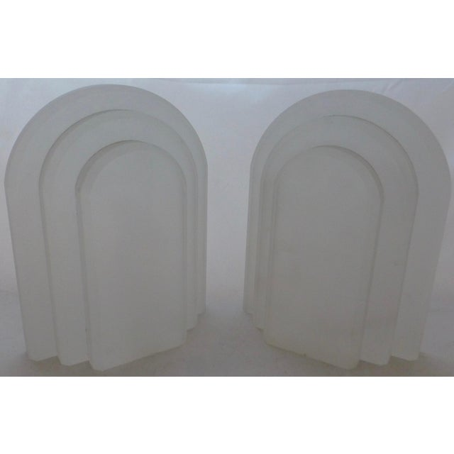 White Vintage Frosted Lucite Bookends - A Pair For Sale - Image 8 of 8