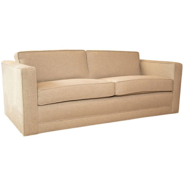 Mid-Century Knoll Sofa in Custom Linen - Image 1 of 6