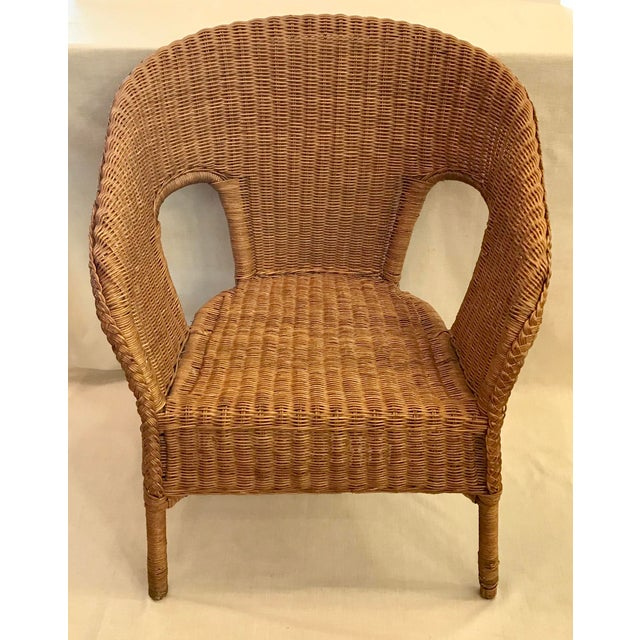 Late 20th Century Vintage Barrel Back Natural Wicker Chair For Sale - Image 4 of 13