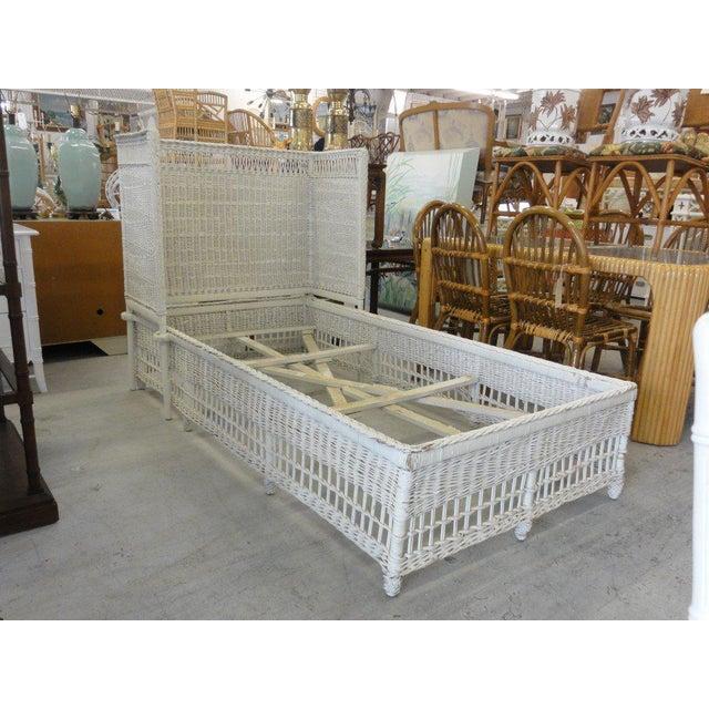 Wicker Vintage Hooded Wicker Twin Bed For Sale - Image 7 of 7