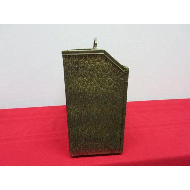 Brass Vintage Brass Hammered Gothic Magazine Rack Stand Box For Sale - Image 7 of 11
