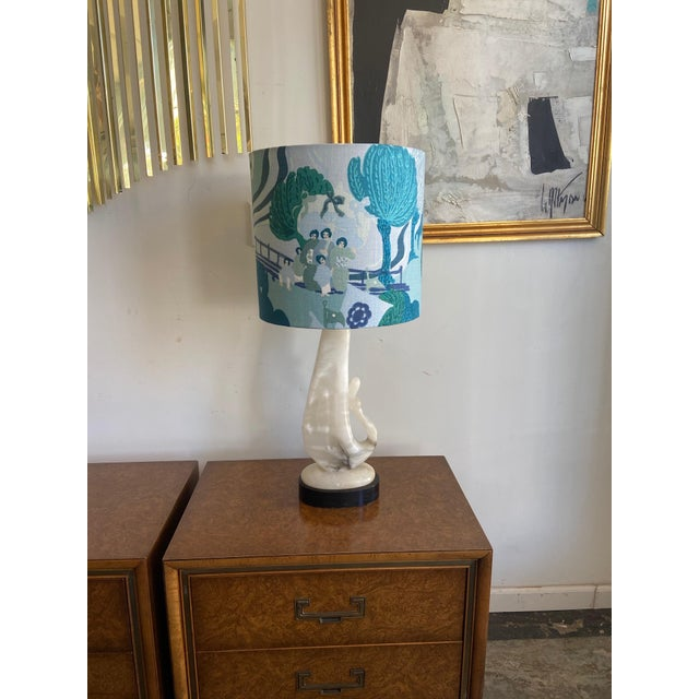 Art Deco Vintage Alabaster Lamp With Schumacher Shade For Sale - Image 3 of 9