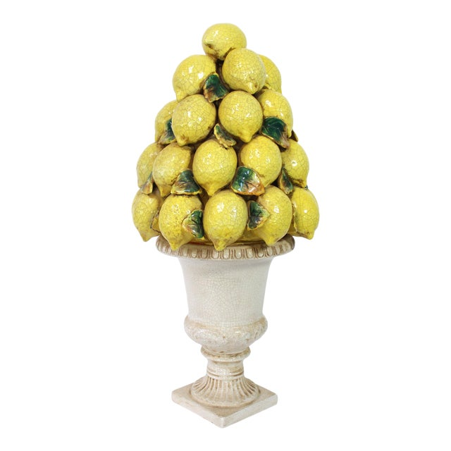 Tall Italian Lemon Topiary Majolica For Sale
