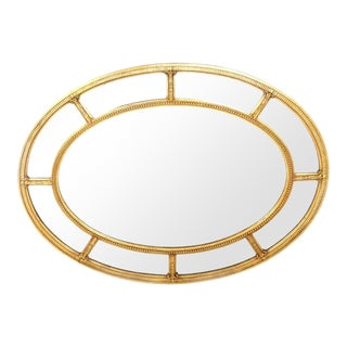 Gilt Wood Framed Oval Shape Beveled Wall Mirror For Sale