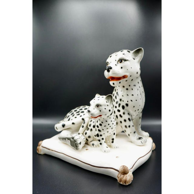 Italian Hand-Painted Snow Leopards For Sale - Image 6 of 11