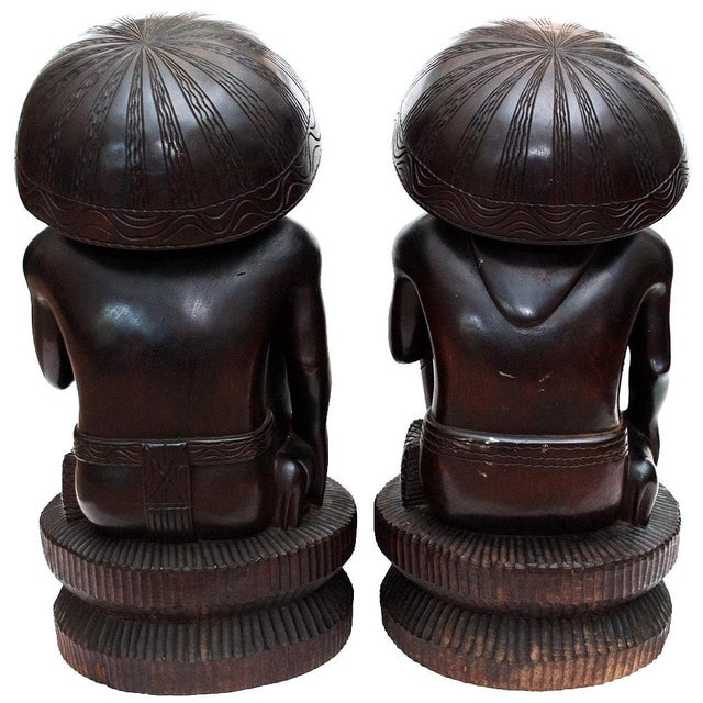 Ebony Large Early 20th C. African Narra Wood Sculptures - a Pair For Sale - Image 7 of 13
