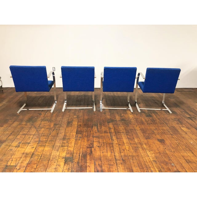 Mid-Century Modern 1970s Original Mies Van Der Rohe for Knoll Solid Steel Flat Bar Brno Dining Chairs - Set of 4 For Sale - Image 3 of 13