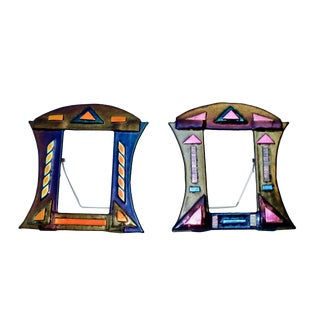 McEwan Photo Frames in Dichroic Art Glass, Signed - a Pair For Sale