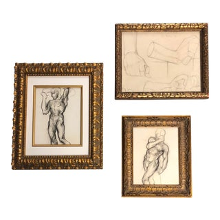 Gallery Wall Collection 3 Original Male Charcoal Studies 1930's For Sale