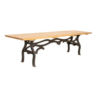 Vintage Long 10' Farm Table With Industrial Iron Base For Sale