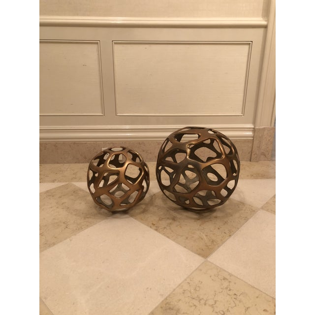 Arteriors Home Arteriors Modern Decorative Spheres - a Pair For Sale - Image 4 of 4
