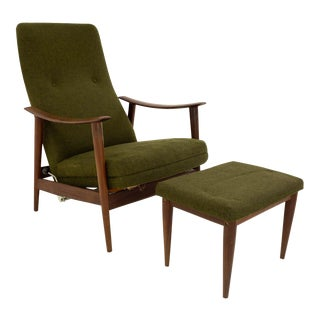 Vintage Mid Century Folke Ohlssen for Dux Reclining Green Wool Lounge Chair & Ottoman For Sale