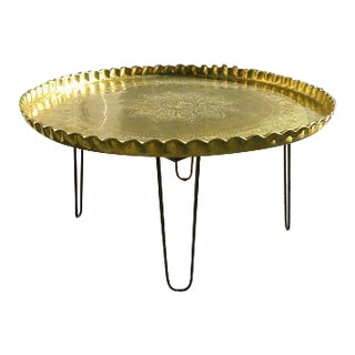 Vintage Moroccan Brass Tea Table With Hair Pin Legs
