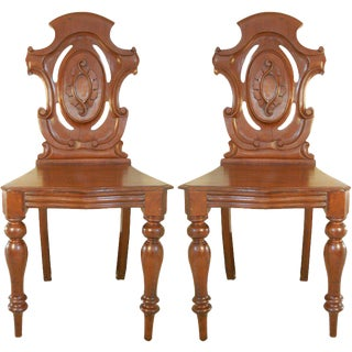 Pair of English Hall Chairs For Sale
