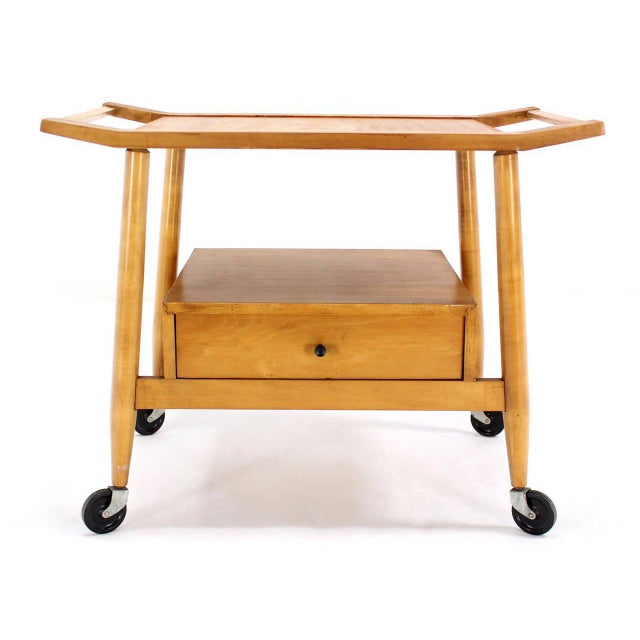 Birch Mid-Century Modern Solid Birch Cart Serving Table For Sale - Image 7 of 10