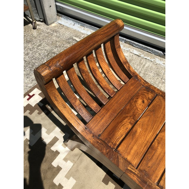 Early 19th Century Antique Curved X-Framed Solid Teak Bench For Sale - Image 4 of 5