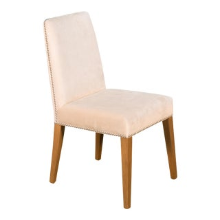 Sarreid Side Chair, Ivory Velvet W/ Nailhead For Sale