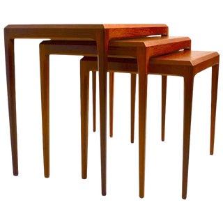 Danish Nest of Tables Johannes Andersen for Cfc Mobler Silkenborg For Sale