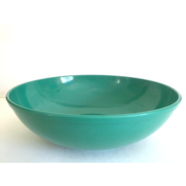 Turquoise Vintage Mid Century Modern Melmac Melamine Extra Large Teal Green Round Serving Bowl For Sale - Image 8 of 13
