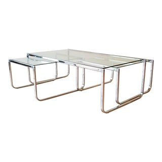 1970s Glass and Chrome Coffee Table With Nesting Side Tables Made in Italy For Sale