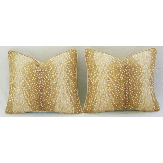 "Contemporary Custom-Tailored Antelope Fawn Spot Velvet Feather/Down Pillows 21"" X 18"" - Pair For Sale - Image 3 of 10"