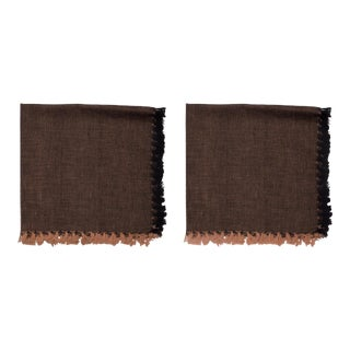 Two -Tone Napkins, Black & Coffee - A Pair For Sale