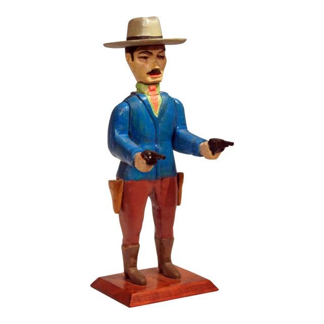 Old Folk Art Figurine of Gunslinger Western Cowboy Gambler For Sale
