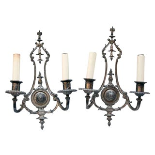 1910s Gothic Silver Sconces - A Pair For Sale