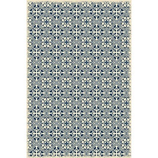 Blue & White Quad European Design Rug - 4' X 6'