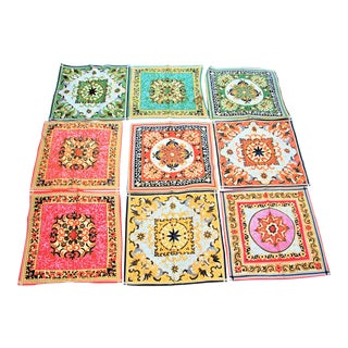 Vintage Batik Fabric Hand Sewn Napkins - Set of 9