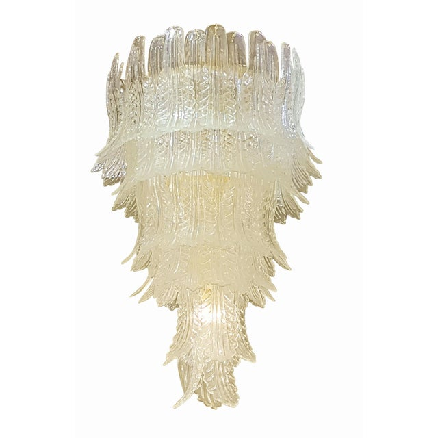 1970s XL Barovier e Toso mid-century modern clear Murano glass leaves chandelier For Sale - Image 5 of 5