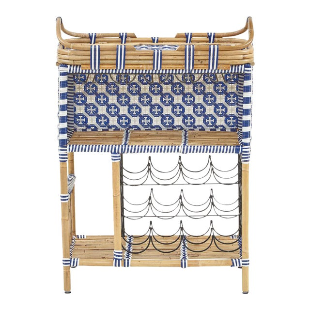 Madrid Wine Bar w/Removable Serving Tray, Navy Blue, Rattan For Sale