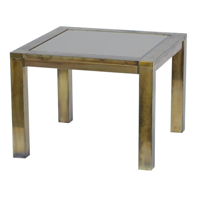 1960s French Patinated Brass and Bronze Mirrored Side Table For Sale