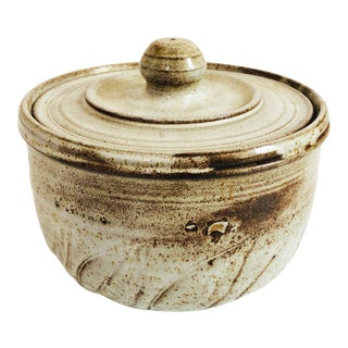 Vintage Studio Pottery Lidded Serving Bowl For Sale
