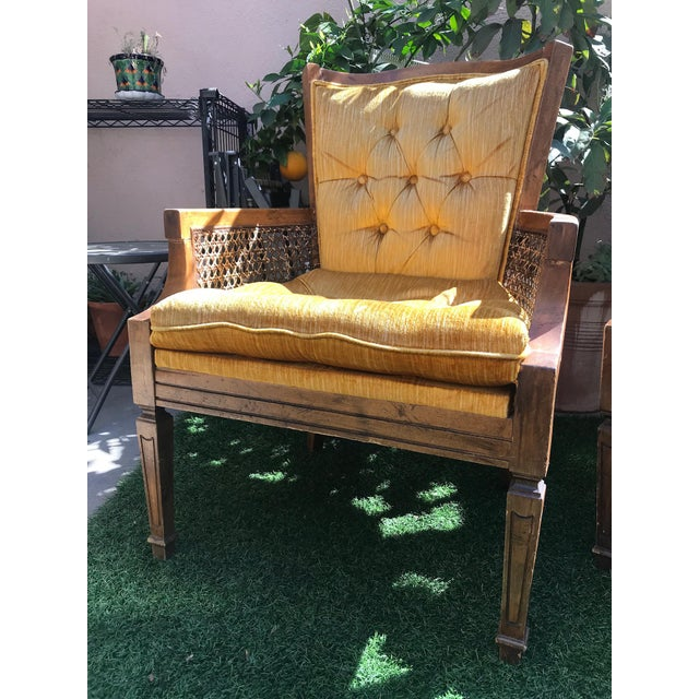 French Velvet Tufted Cane Chairs - A Pair - Image 2 of 4