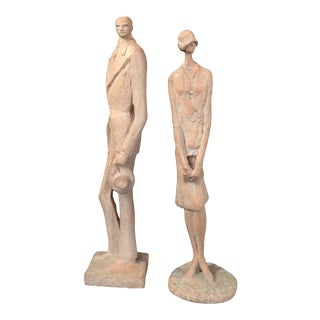 1970s Austin Productions Cast Resin Couple in Stylized Fashions of the Early 20th Century - Set of 2 For Sale