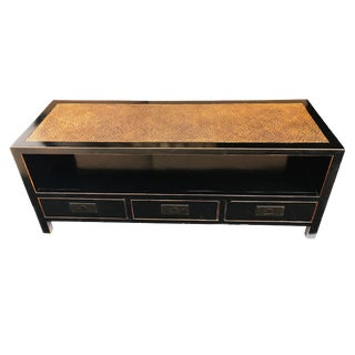"""Asian Black Lacquer Low Chest, Tv Stand W/Rattan Top 60.25"""" W by 24"""" H For Sale"""