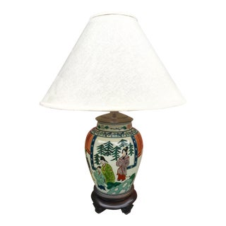 Antique Hand Painted Ginger Jar Lamp For Sale