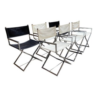 Virtue Brothers Chrome and Naugahyde in Black and White Director's Chairs - Set of 6 For Sale