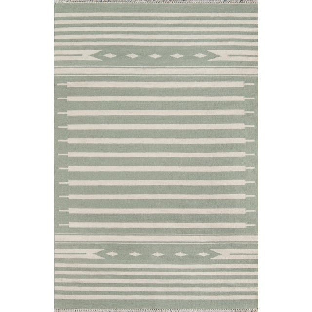 "Erin Gates by Momeni Thompson Billings Light Green Hand Woven Wool Area Rug - 3'6"" X 5'6"" For Sale In Atlanta - Image 6 of 6"
