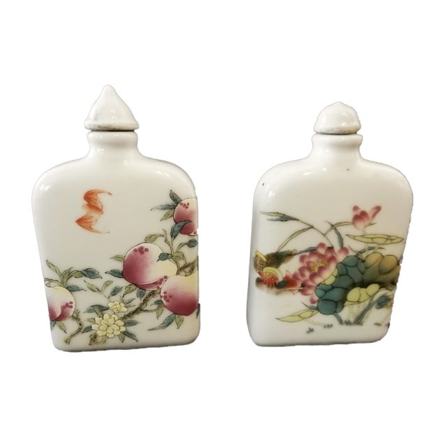 Famile Rose Porcelain Snuff Bottles - Set of 3 For Sale - Image 4 of 10