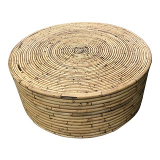 Vintage Round Split Reed Coffee Table For Sale