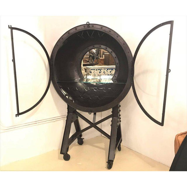 Industrial Large and Impressive Industrial Ships Port Hole Bar Cabinet with Mirrored Back For Sale - Image 3 of 12