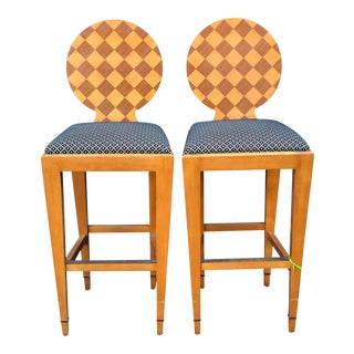 Pair of Angelo Donghia Harlequin Bar Stools For Sale